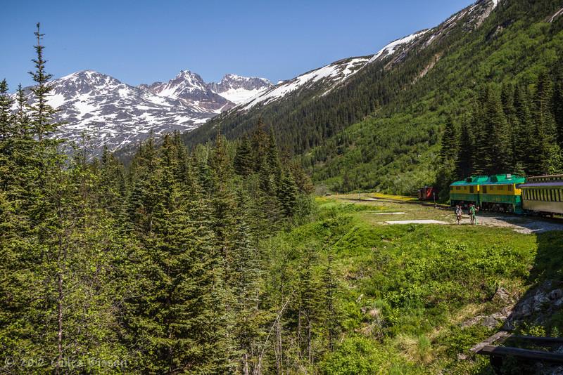 White Pass train, picking up hikers, Yukon, June 23 2012