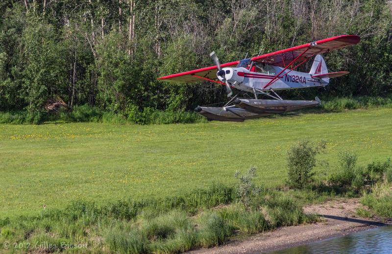 Plane taking off the Nenana River, Fairbanks Alaska, June 19 2012