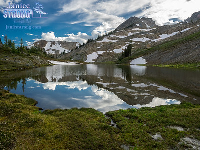 Late afternoon reflection at Silver Basin near the Bugaboos in southeastern BC.