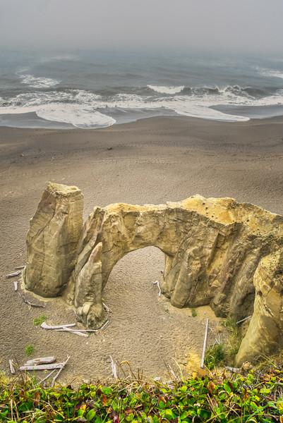 A natural arch at Floras Lake State Park, OR