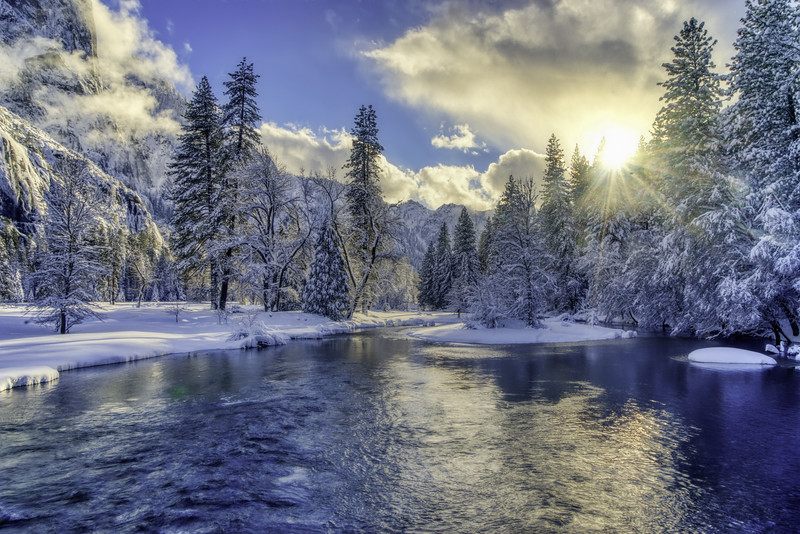 Sunset over a wintery Merced River