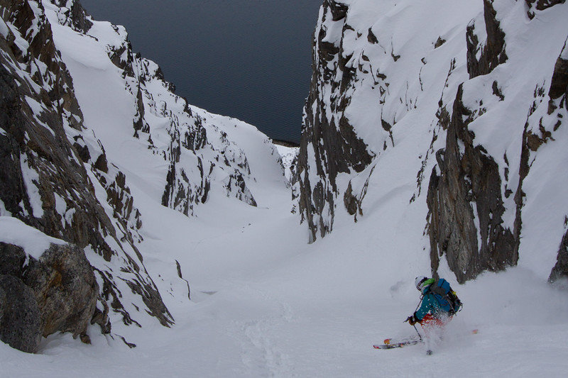 Pip Hunt skiing a dreamy couloir in West Greenland.