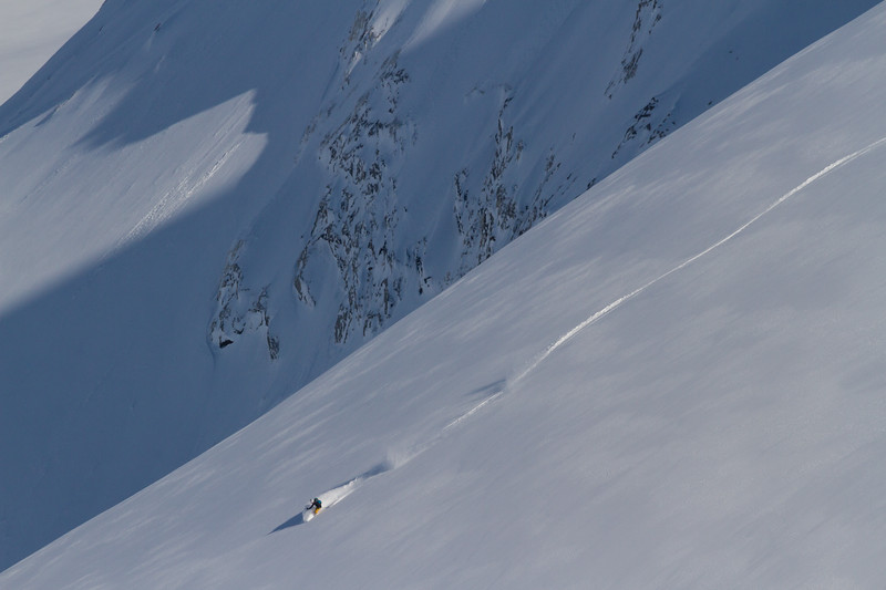 McKenna Peterson skiing perfect powder in West Greenland.
