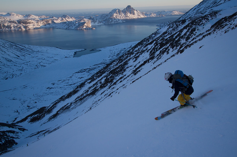 McKenna Peterson making turns back towards the sail boat in South Greenland.