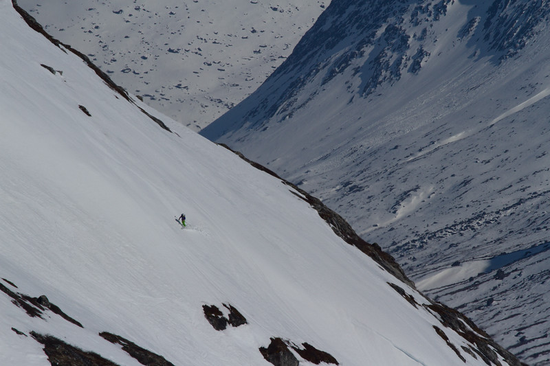Meghan Kelly making telemark turns above a gigantic fjord in South Greenland.