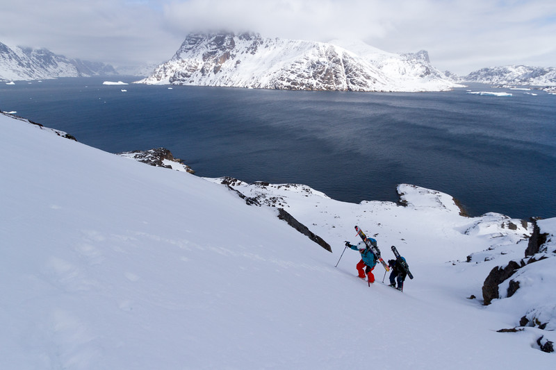 Pip Hunt & Nat Segal ascend a couloir in South Greenland.