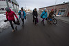 The Shifting Ice Team and local ski guru Camilla Edwards walking the streets of Isafjordur.