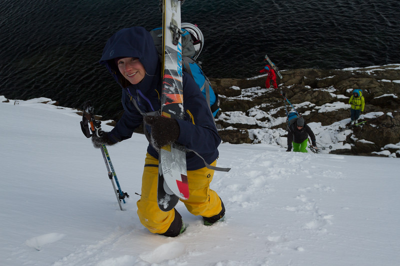 McKenna Peterson during the ever alkward transition from sea to snow.