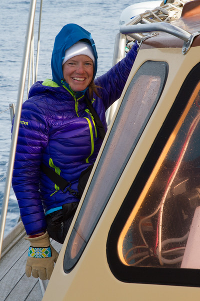 Meghan Kelly smiles at the first sighting of land after crossing the Denmark Straight.