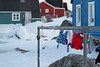 Clothes hanging out to dry in Nanortalik, South Greenland.