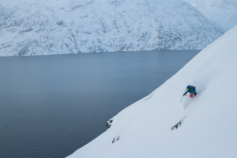 Pip Hunt ejoying perfect powder in West Greenland.