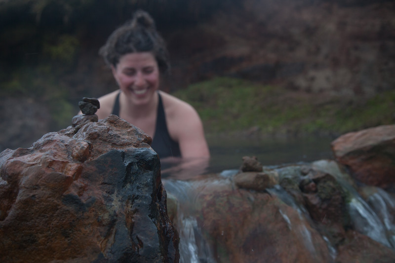 Nat Segal soaking in one of Iceland's many remote hot springs.