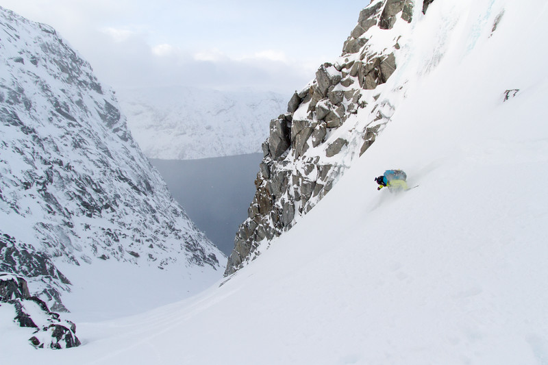 Nat Segal enjoys knee deep powder in a remote fjord in West Greenland.