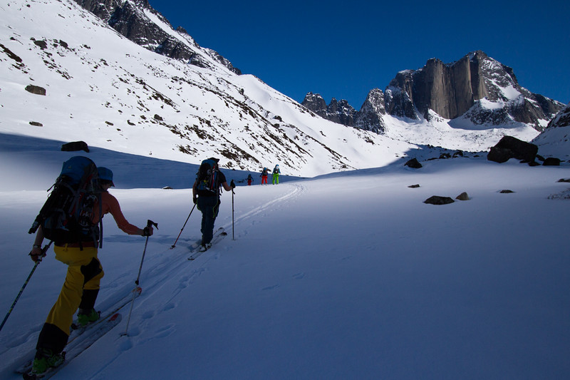McKenna Peterson, Nat Segal, and team en route to a remote peak in South Greenland.