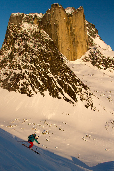 Pip Hunt skiing in a remote valley in South Greenland.