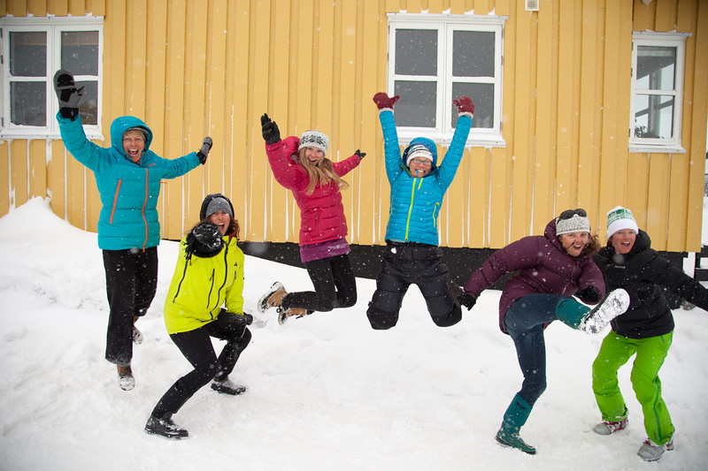 The Shifting Ice Team, Martha Hunt, Nat Segal, McKenna Peterson, Pip Hunt, Kt Miller, & Meghan Kelly celebrating a safe arrival in Nuuk, Greenland at the end of the trip.