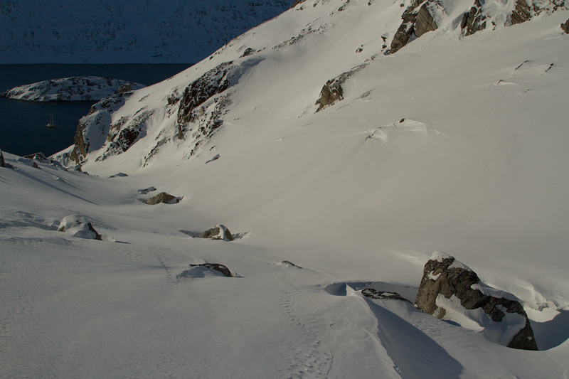 An untouched gully leading to the sail boat.