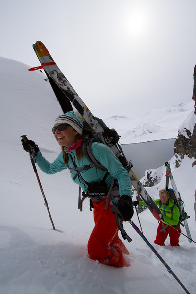 Mother daughter dui Pip & Martha Hunt, ascend an aesthetic couloir in West Greenland.