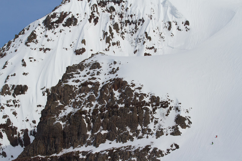 Pip Hunt & Meghan Kelly demonstrate the scale of climbing ski lines in Iceland.