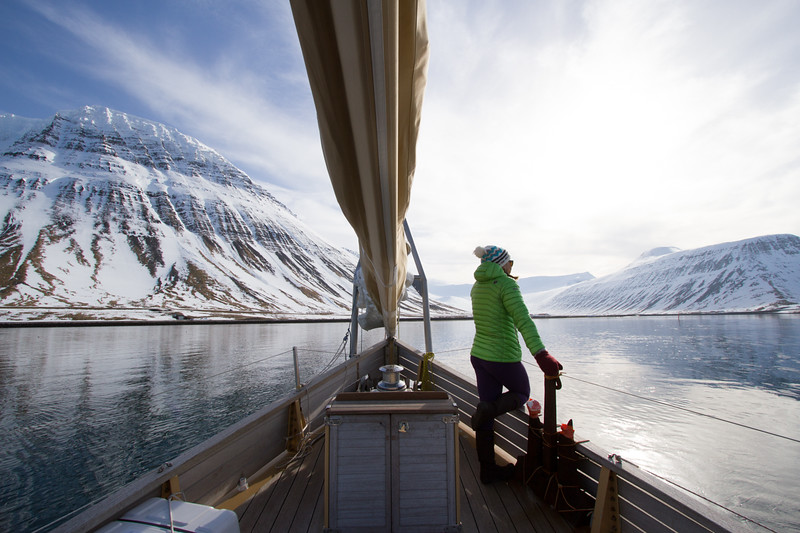 Pip Hunt taking in the view as the La Louise sets sail.