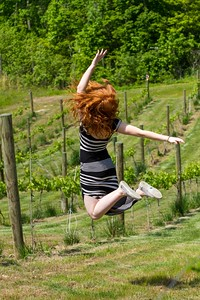 My beautiful daughter jumping for joy at  Saudé Creek Vineyards
