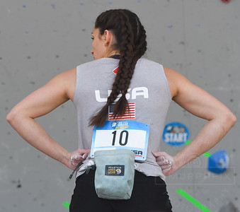 VAIL, CO - JUNE 07: Kyra Condie of Team USA studies a bouldering problem during the IFSC Climbing Vail World Cup on June 7, 2019, in Vail, Colorado. (Photo by Joseph L. Murphy/Getty Images Contributor)