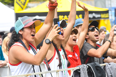 VAIL, CO - JUNE 07: Fans cheer for Leonardo De Rivero Huaman of Team Peru  during the IFSC Climbing Vail World Cup on June 7, 2019, in Vail, Colorado. (Photo by Joseph L. Murphy/Getty Images Contributor)