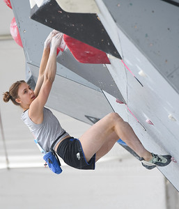 VAIL, CO - JUNE 07: Sienna Kopf of Team USA looks for the next hold  during the IFSC Climbing Vail World Cup on June 7, 2019, in Vail, Colorado. (Photo by Joseph L. Murphy/Getty Images Contributor)