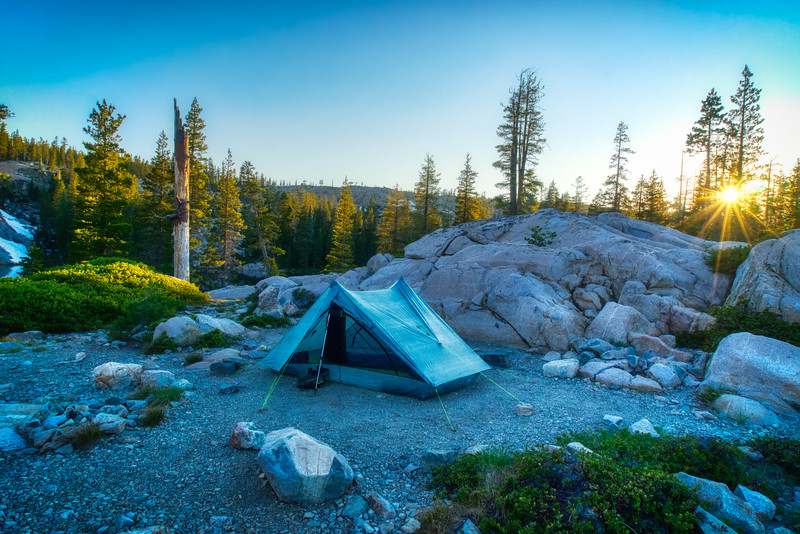 Sunset over camp in the Five Lakes Basin