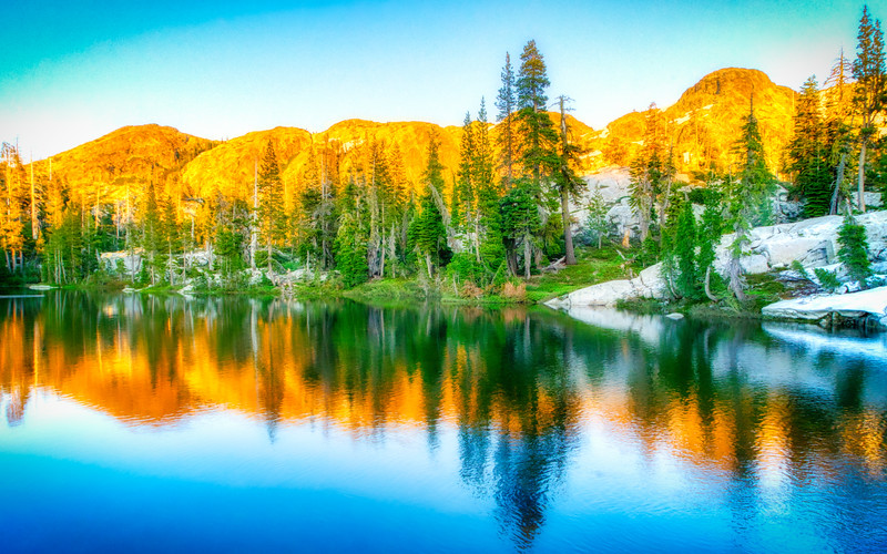 One of the lakes in the Five Lakes Basin at sunset