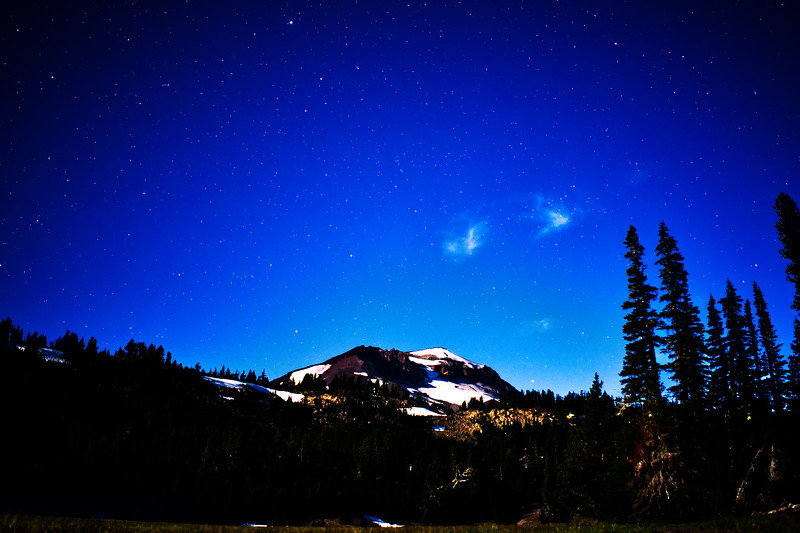 South Sister glowing in the moonlight