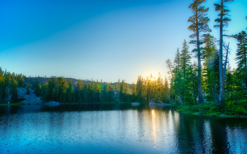 The last light of the sun over the Five Lakes Basin
