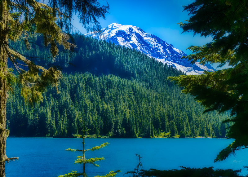 Mowich Lake with Mt. Rainier in the distance
