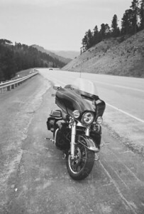 My Street Glide along the road in the Black Hills.