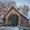 Snow Falling At Emerts Cove Covered Bridge