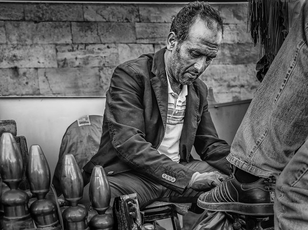 Shoe Polisher in Eminonu, Istanbul
