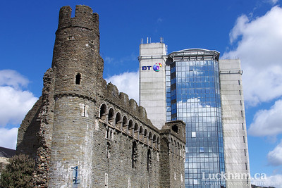 The 900 year old Swansea Castle and the 43 year old BT Tower