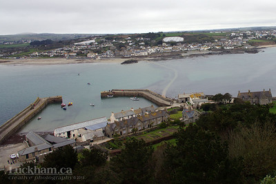 view of the island Harbour and Marazion, note the causeway is under water now.