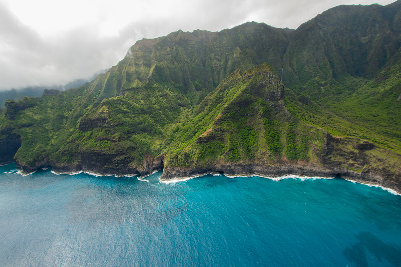 Shore of Kauai from helicopter