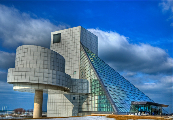 Winter view of the Rock and Roll Hall of Fame (Cleveland, Ohio). Building designed by Pei Cobb Freed & Partners