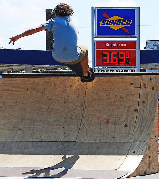 Skateboarder performing at the Collinwood Art Festival in Cleveland, Ohio
