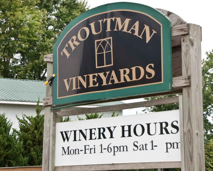 """Photo: Sign for the Troutman Vineyards south of Wooster, Ohio (Wayne County, Ohio).<br /> <br /> Description: Troutman Vineyards is a boutique winery located in beautiful rural Wayne County, Ohio, at the gateway to Amish country. <br /> <br /> Role in Wayne County's Ag-Bio Cluster: Tourism and travel generator, vineyard, winery.<br /> <br /> Website: <a href=""""http://www.troutmanvineyards.com/"""">http://www.troutmanvineyards.com/</a>"""