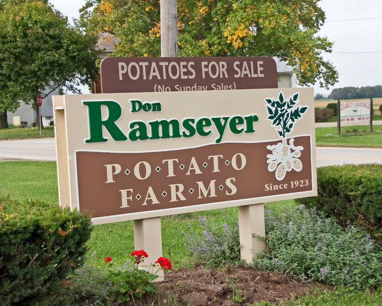 Photo: Sign for the Don Ramseyer Potato Farm in Smithville, Ohio.  Role in Wayne County's Ag-Bio Cluster: Potato grower, farm.  Website: None