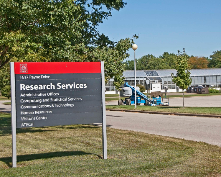 "Photo: OARDC Research Services Building sign. <br /> <br /> Description: Research is the name of the game at the Ohio Agricultural Research and Development Center (OARDC). Research in three signature areas is conducted at the center:<br /> <br /> Advanced Bioenergy and Biobased Products: As the importance of renewable sources for energy and materials increases, research and industry partnerships come together in this signature area to develop biomass-based advanced energy technologies and value-added biobased products such as fuels, specialty chemicals, and fiber products.<br /> <br /> Environmental Quality and Sustainability: Work in this signature area seeks to understand, protect, and remediate the environment and ecosystems to ensure long-term sustainability. At the core of this effort is the realization that sustaining population and economic growth must be balanced with the preservation of natural resources and environmental assets.<br /> <br /> Food Security, Production, and Human Health: This signature area focuses on improving agricultural production; enhancing the quality of food and feed; ensuring an adequate, affordable, and safe food supply; and maintaining agro-security to ensure food security and the basics of nutritional health for a growing global population.<br /> <br /> Role in Wayne County's Ag-Bio Cluster: International leader in agricultural research and development, new business incubator, higher education leader, agricultural extension and services, and a leading brand generator for Wayne County's ag-bio and food products cluster. <br /> <br /> Website <a href=""http://www.oardc.ohio-state.edu/"">http://www.oardc.ohio-state.edu/</a>"