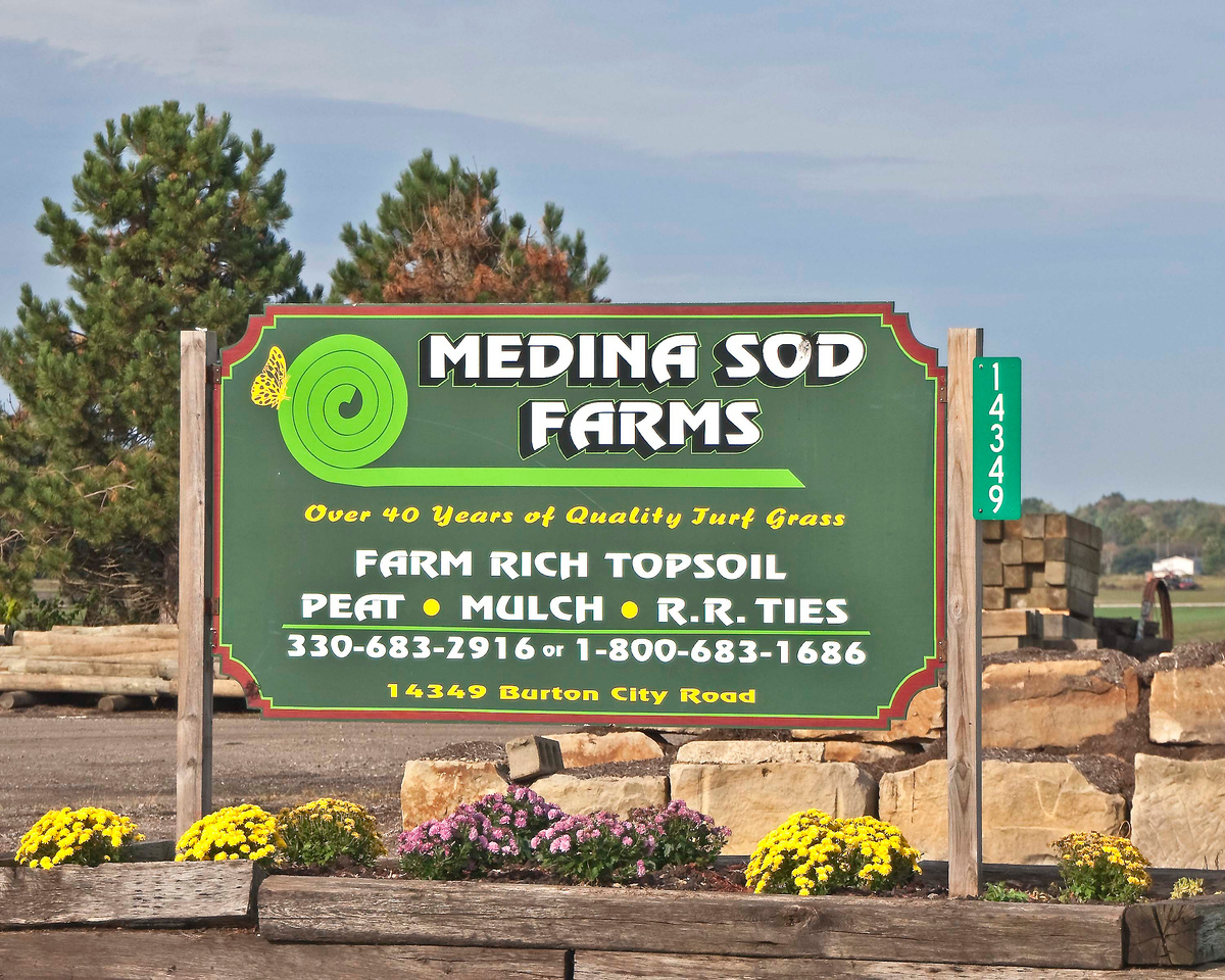 Photo: Sign for the Medina Sod Farms located just outside Orrville, Ohio (Wayne County, Ohio).   Description: Medina Sod Farms Inc.has been noted for quality turfgrass for more than 35 years. Its sod comes in a variety of blends to suit various needs such as climate, usage, and sun and shade conditions.   Role in Wayne County's Ag-Bio Cluster: Sod farmer, landscape design.  Website: http://www.medinasodfarms.com/
