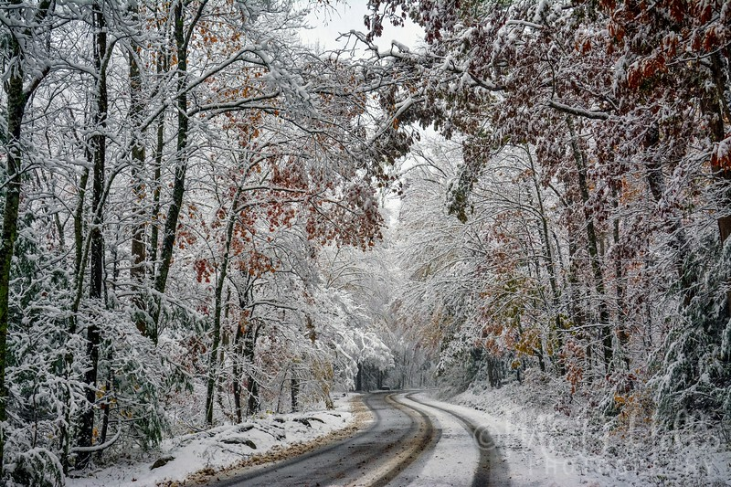 Snowy Drive Up Cherokee Orchard Road