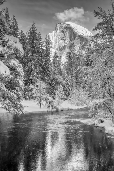 The Merced River and Half Dome in the snow (Black and White)