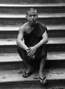 MYA_2910-Monk on Stairs-B&W