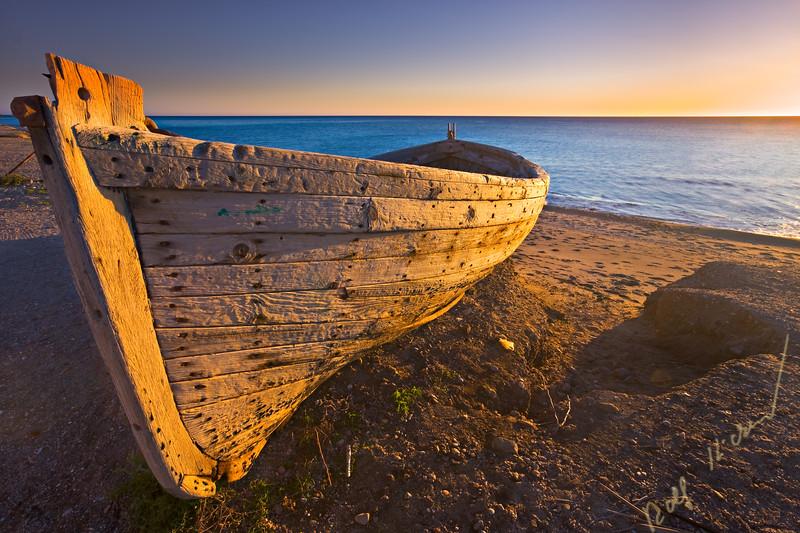 Old boat along Playa de San Miguel, Parque Natural de Cabo de Gata, Costa de Almeria, Province of Almeria, Andalusia (Andalucia), Spain, Europe.