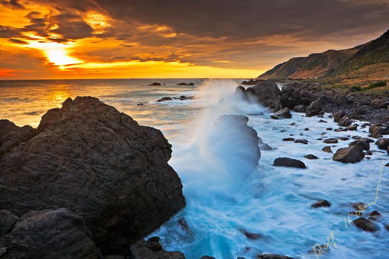 Waves splashing aginst the coast, Wairarapa, New Zealand